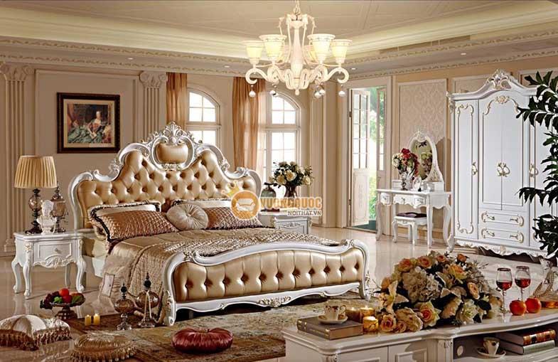 Giường ngủ cổ điển màu sâm panh thời thượng GD710G