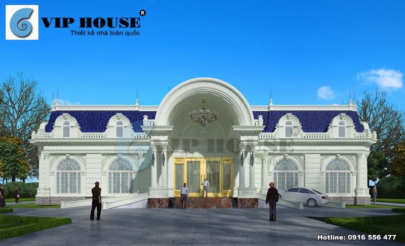 Ngoại thất biệt thự kiểu Pháp 1 tầng tại Bình Thuận
