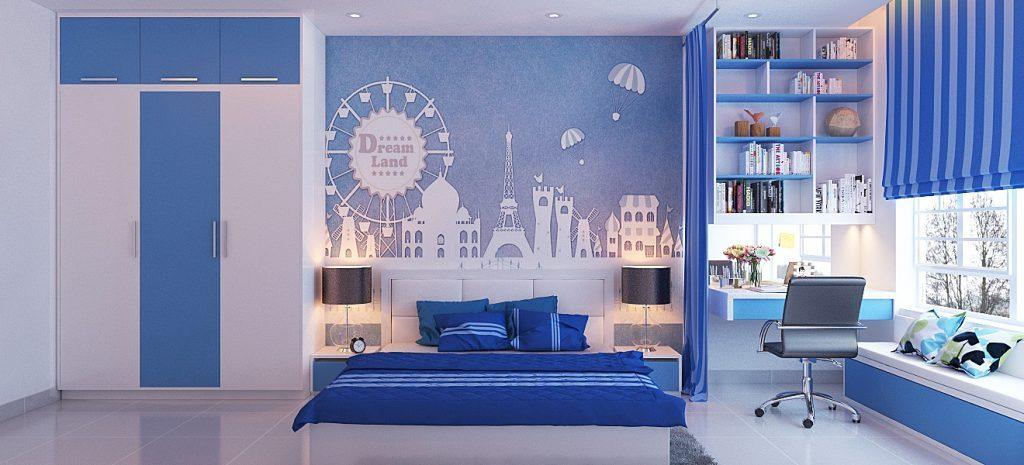 Các mẫu phòng ngủ màu xanh dương cho bé gái cá tính