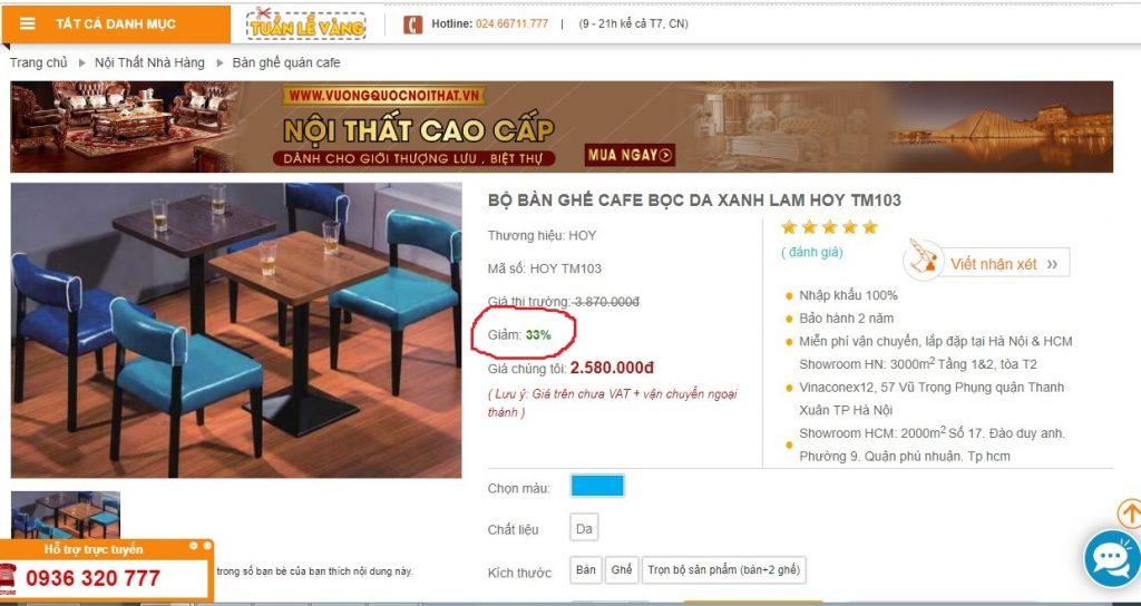 Thứ ba: Bàn ghế quán café có giá thành cạnh tranh nhất